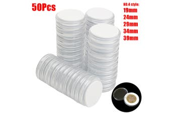 50Pcs 19/24/29/34/39mm US Acrylic Adjustable Coin Case Capsules Holders Storage(clear)(50pcs)