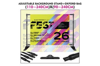 2.4x2.4m Adjustable Background Stand Photo Video Studio Banner Backdrop Support System Kit with Carry Bag for Photography