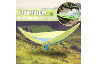 Portable Double Hammock with Mosquito Net for Outdoor Camping Traveling(yellow)