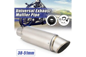 38~51mm Universal Stainless Steel Motorcycle Exhaust Muffler Pipe Kit Refit Exhaust Muffler(steelgray)(A 300mm)