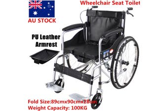 Manual Folding Wheelchair Lightweight Mobility PU Leather Seat Toilet Chair(black)
