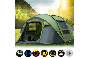 Instant Open up 5 Person Camping Tent Waterproof Family Backpacking Hike Tent Green(green)