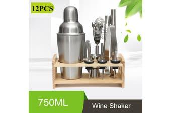 750ML 12Pcs Cooktail Shaker Maker Set Bar Tool Bottle Opener Jigger Wine Straine(12PCS 1 SET 750ML)