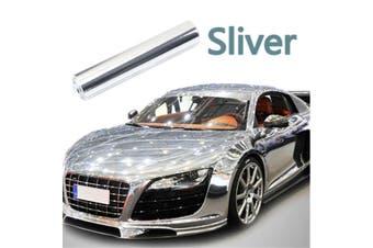 Silver 8''x60'' Air Drain Car Sticker Chrome Mirror Vinyl Wrap Film Decal Sheet