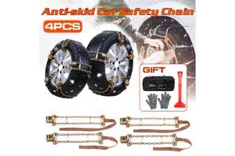 4x Universal Steel Car Tire Anti-skid Chains Emergency Snow Mud Road 165-195mm(S)