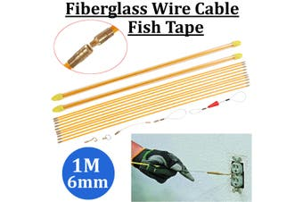 10x1M 6mm Fiberglass Wire Cable Rod Puller Electrical Fish Tape Pull & Push Kit