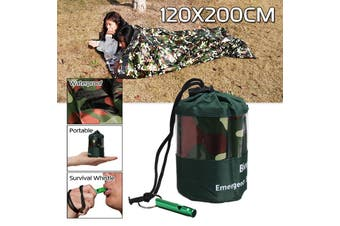 Free Shipping + Flash Deal Ultralight Portable Emergency Sleeping Bag With Survival Whistle Outdoor Camping(camouflage)(1PC 120x200CM Camouflage)