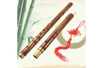 Traditional Chinese Musical Instrument Handmade Bamboo Flute in D Key Dizi 24'' Long + Chinese Knot + Bamboo Membrane + Red Bag