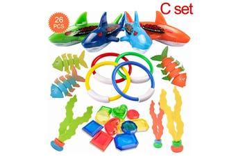 26/18/8 Pcs Set Kids Diving Toy Diving Rings Torpedo Sticks Balls Toy for Swimming Pool Underwater Games(C Set-26PCS)