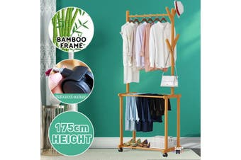175x60x37cm -- Clothes Rack Coat Garment Stand Portable Bamboo Rail Hanger Closet Multi Purpose Hanger Clothes Hanger