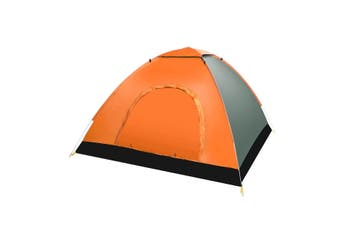 3-4 People Full-automatic Tent an Automatic Instant Portable Camping Tent - Doors on Both Sides - Anti-Mosquito-Water-Resistant & UV Protection Sun Shelter(orange)