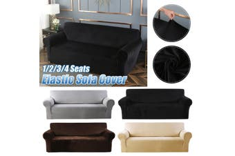 3 Seats Elastic Stretch Velvet Sofa Armchair Cover Solid Color Couch coffee