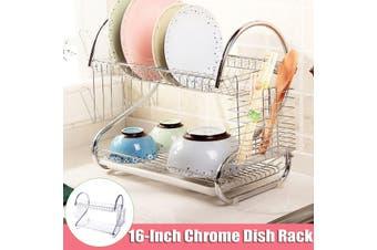 【16 inch】(2-Tier) Chrome Dishrack Kitchen Dish Drying Rack Over Sink Storage Shelf Countertop Space Saver Tableware Organizer With Utensil Cutlery Holder Chopstick Holder Dish Drainer
