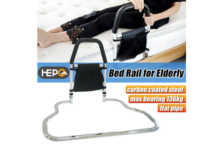 Carevas Height Adjustable Hand Bed Rail for Elderly Senior with Anchor Strap Stainless Steel Bed Assist Bar Handle Safety Hand Rail 350LB Capacity CE/FDA/FSC Approved