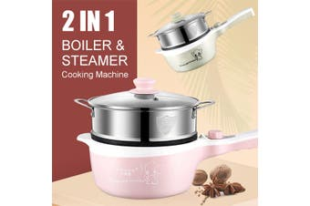 600W Electric Boiler Hot Pot Slow Cooker Steamer Automatic Kitchen Tools 2L+1L(lightpink)