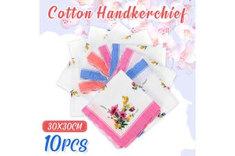 10Pcs Vintage Cotton Handkerchief Women Absorbent 11.8x11.8'' Men Suit Pocket Towel