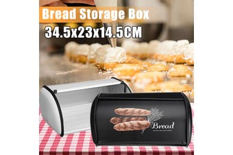 Iron Bread Bin Lid Steel Bread Box Pastry Cake Food Kitchen Container 34.5CM(black)
