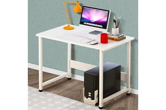 39Inch Wooden Computer Desk Modern Bedside Table with Shelf Universal Laptop Stand(white)(white board)