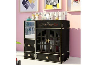 Makeup Organizer Cosmetic Storage Box Drawer Case Brush Lipstick Desk Holder(Black)