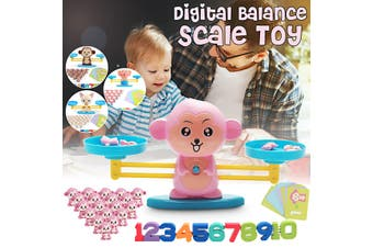 Balance Scale Toy Montessori Educational Toy Baby Early Development Toy Hello(Pink Monkey)