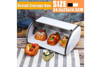 Iron Bread Bin Lid Steel Bread Box Pastry Cake Food Kitchen Container 34.5CM(white)