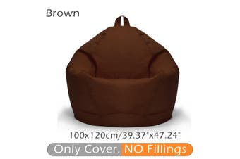 100*120CM Stylish Flannelette Bean Bag Sofa Cover Lounger Chair Sofa Seat Living Room Furniture Without Filler Beanbag Sofa Bed Pouf Puff Couch Cotton Chair Cover Only Cover (No Filling)(brown)