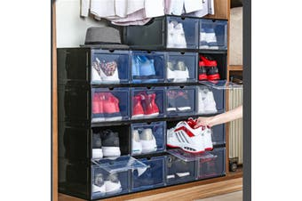 【1 PC】Wholes Sneaker Shoe Box Storage Organizer Dustproof Stackable(black)(Type 2)