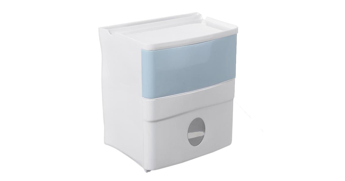 Multifunctional Double Tissue Box Cover Self Adhesive Toilet Paper Holder Bathroom Wall Mount Waterproof Tissue Box Holder Storage Box Blue Matt Blatt