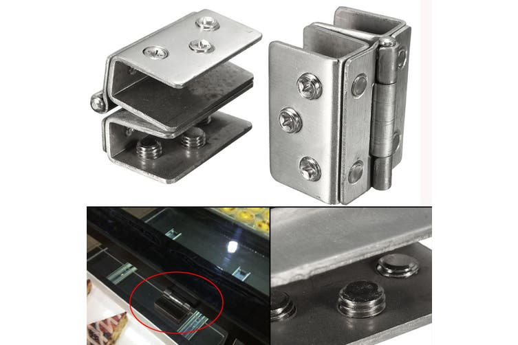 2PCS Stainless Double Clamp Action Shower Glass Door Hinge 180° 50x43x12mm AU