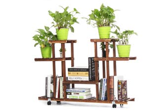 4-Tier Garden Wooden Plant Stand Pot Planter Holder Rack Display Shelves Home(brown)(with wheels)
