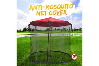 275/300/335 X 220cm Center Pillar Umbrella Outdoor Garden Courtyard Anti-mosquito Nets Sunshade Net Cover Table Umbrella Portable(black)(B-220X275CM)