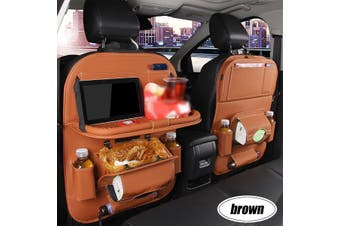 1pc Car Seat Back PU Leather Organizer Tidy Pocket Storage Bag Holder Table Travel(brown)