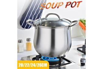 Household 304 Stainless Steel Soup Pot Extra-high with Double Bottom and Thick(24 cm)