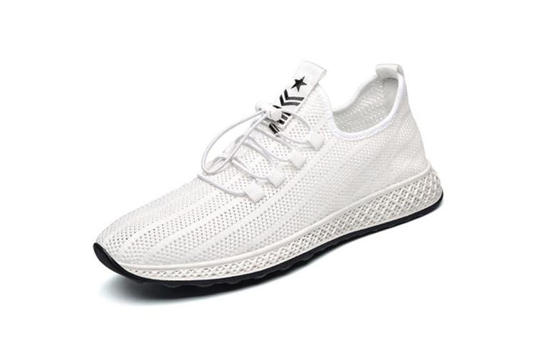 Men's Casual Sneakers Lightweight Gym Tennis Shoes Sport Athletic Road Running(white)(US9/EU43)