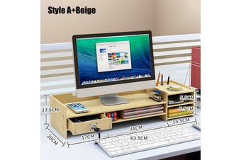Adjustable Monitor Riser Stand Wooden Keyboard Mouse Holder Desk Organizer Storage(beige)(With lock)