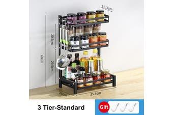 3 Tier Spice Rack Kitchen Countertop Storage Organizer Stainless Steel Holder(3 Tier Standard)