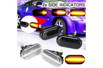 2X Dynamic LED Side Repeater Indicator Light For Nissan Navara 350Z Qashqai J10 (Clear)(clear)(Flowing)