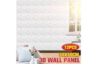 12Pcs 3D PVC Waterproof Wall Panel Tiles Living Room Background Home Decoration