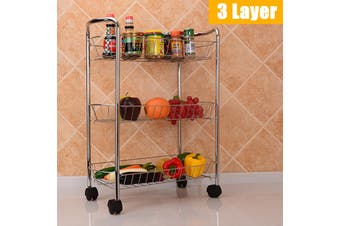 3/4 Layer Kitchen Trolley Wheeled Cart Vegetable Rack Fruit Spice Storage Rack(3 Layer)