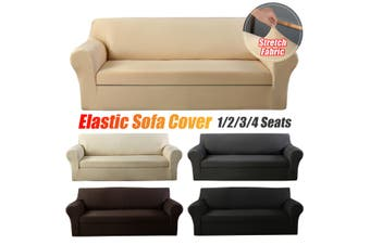 Elastic Stretch Sofa Armchair Cover Solid Color Living Room Couch Slipcover(khaki)(TypeA 4 seats)