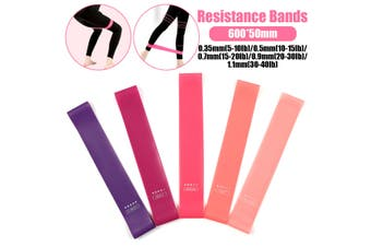 Latex Resistance Bands Strength Training Exercise Fitness Home Yoga 600*50mm(Pink 5pack 600x50mm with bag)