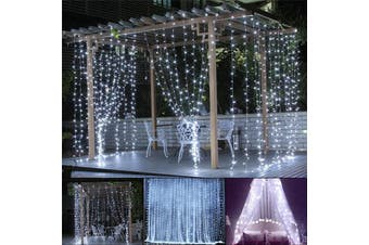 3x10M Cool Light 1000 LED Window Curtain Lights Fairy String Lights Indoor Outdoor Wall Decorations Christmas Twinkle Lights for Bedroom, Parties, Wedding Backdrop, Patio(white)(3x10M 1000LED)