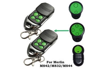 2pcs 4-Channels Green Garage Door Compatible Remote Control For Merlin M842/M832/M844