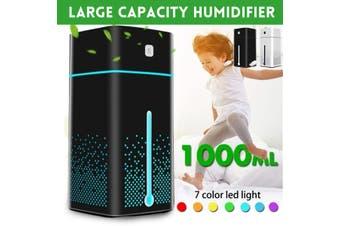 1000ml Ultrasonic Quiet Diffuser Humidifier Air Purifier 7 Color LED Lights USB(black)(Humidifier 3.0 1000ml black)
