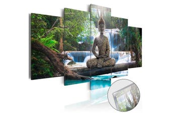 5x Buddha Zen Landscape Painting Canvas Print Modern Picture Wall Art Decor Home #green with frame(green)(Framed)