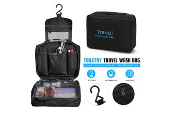 New Travel Waterproof Toiletry Wash Pouch Cosmetic Bag Makeup Case Hanging Bag(black)