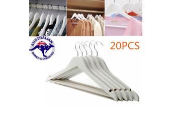 AU 20X Wooden Clothes Hanger Coats Suit Dress Rack Wood Wardrobe Coathanger Bulk(20pcs)