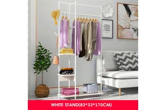 Clothes Rack Laundry Garment Hanging Freestanding Storage Shelves Organizer(white)