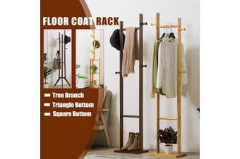 Wooden Coat Clothes Stand Rack Rails Garment Hat Shoe Hanger Holder Shelf DIY(A)
