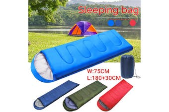 Portable 210CMx75CM Sleeping Bag 1 Person Cotton Zip Hiking Suit Case Envelope Waterproof Outdoor Camping Travel Blanket With Carry Bag(blue)(700 g)